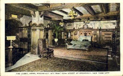 The Lobby, Hotel Piccadilly - New York City Postcards, New York NY Postcard