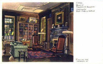 Library, Home of F.D.R. - Misc, New York NY Postcard