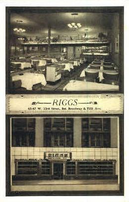 Riggs Restaurant - Misc, New York NY Postcard