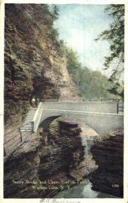 Sentry Bridge and Upper End of Tunnel - Watkins Glen, New York NY Postcard