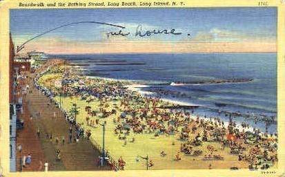 Boardwalk and the Bathing Strand - Long Island, New York NY Postcard