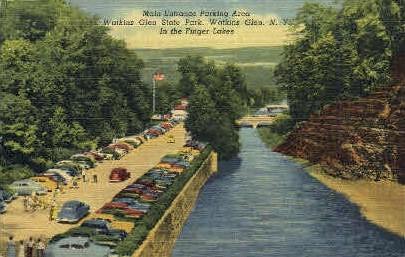 Main Entrance Parking Area - Watkins Glen, New York NY Postcard