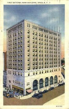 1st National bank Building - Utica, New York NY Postcard
