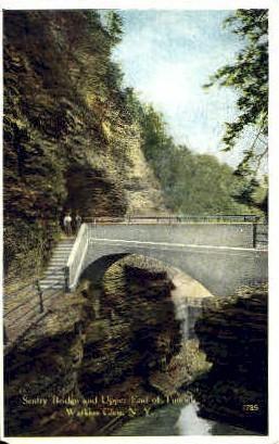 Sentry Bridge  - Watkins Glen, New York NY Postcard