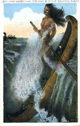 The Legend of the White Canoe - Niagara Falls, New York NY Postcard