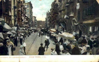 A Scene on Hester Street - New York City Postcards, New York NY Postcard