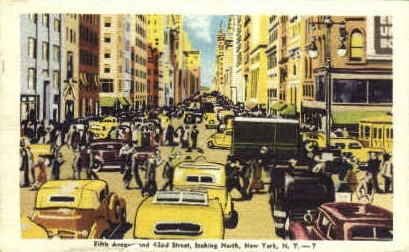 5th Avenue and 42nd Street - New York City Postcards, New York NY Postcard