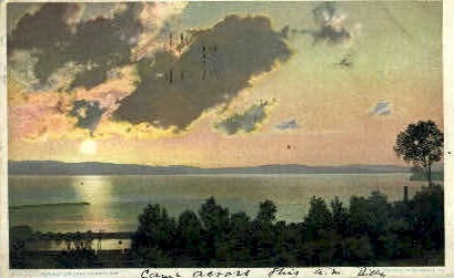 Sunset on Lake Champlain - Misc, New York NY Postcard