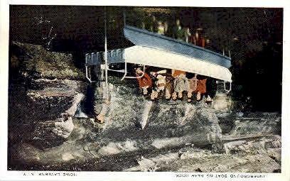 Underground Boating - Howe Caverns, New York NY Postcard