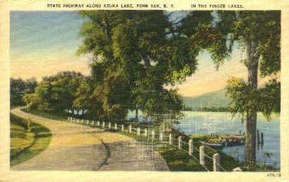 State Highway Along Keuka Lake - Penn Yan, New York NY Postcard
