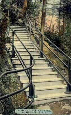 Stairway to Rocky Path - Watkins Glen, New York NY Postcard