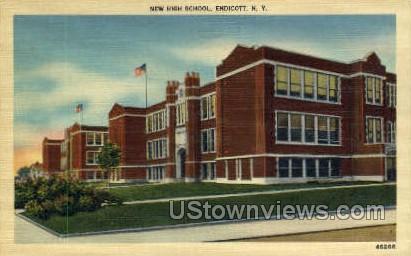 New High School, Endicott - New York NY Postcard