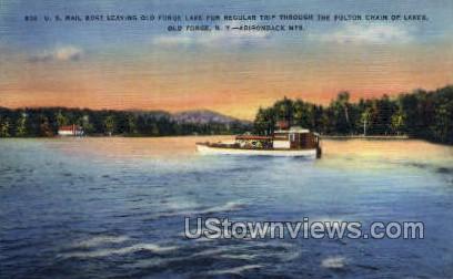 US Mail Boat, Adirondack Mts - Old Forge, New York NY Postcard