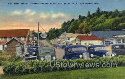 Main Street, Adirondack Mts - Inlet, New York NY Postcard