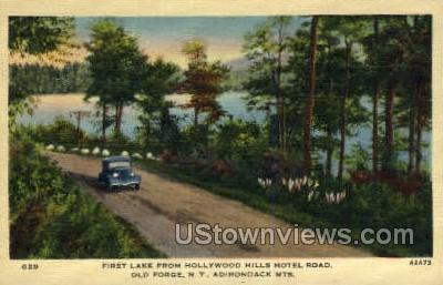 Hollywood Hills Hotel Road - Old Forge, New York NY Postcard