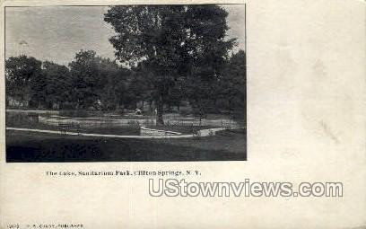 The Lake, Sanitarium Park - Clifton Springs, New York NY Postcard