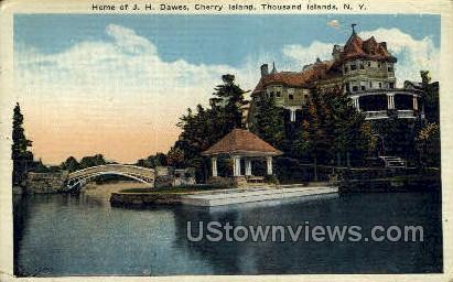 J.H. Dawes, Cherry Island - Thousand Islands, New York NY Postcard