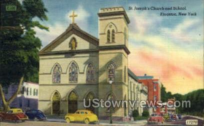 St. Joseph's Church & School - Kingston, New York NY Postcard
