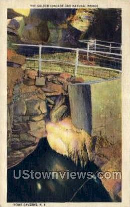 Golden Cascade & Natural Bridge - Howe Caverns, New York NY Postcard