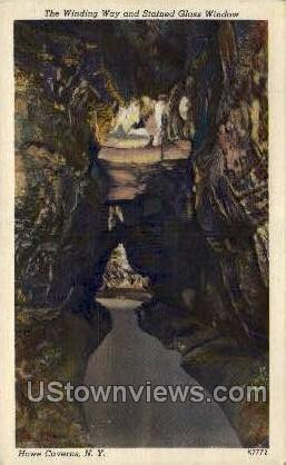 Winding Way & Stained Glass Windwo - Howe Caverns, New York NY Postcard