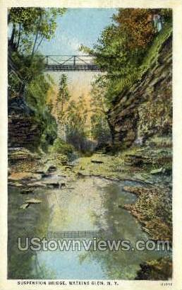 Suspension Bridge - Watkins Glen, New York NY Postcard