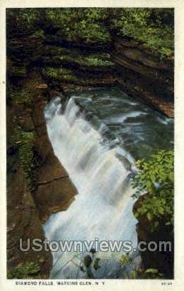 Diamond Falls - Watkins Glen, New York NY Postcard