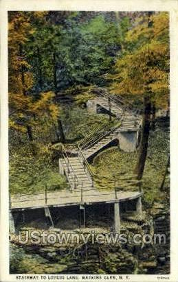 Stairway to Lovers Lane - Watkins Glen, New York NY Postcard