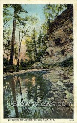 Cathedral Reflection - Watkins Glen, New York NY Postcard