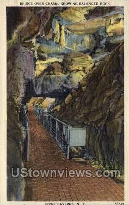 Bridge Over Chasm - Howe Caverns, New York NY Postcard