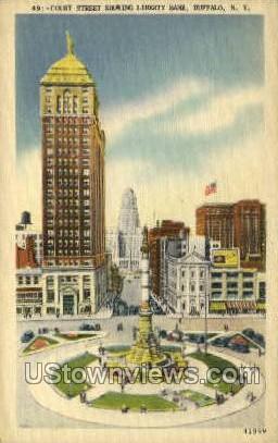 Court Street, Liberty Bank - Buffalo, New York NY Postcard