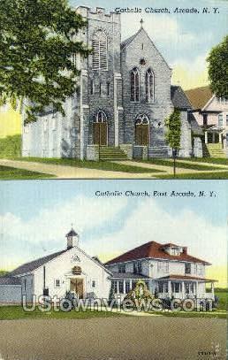 Catholic Church - Arcade, New York NY Postcard