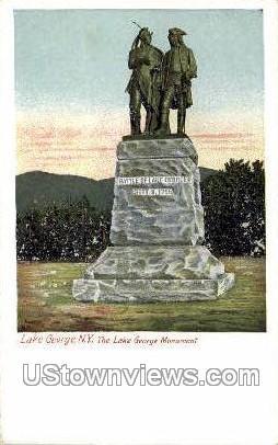 Lake George Monument - New York NY Postcard