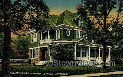 Residence of L.A. McPhillamy - Liberty, New York NY Postcard