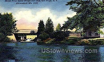 Moose River, Adirondack Mts - Old Forge, New York NY Postcard