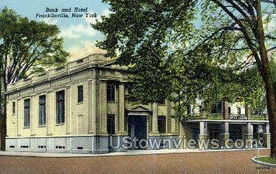 Bank & Hotel - Franklinville, New York NY Postcard