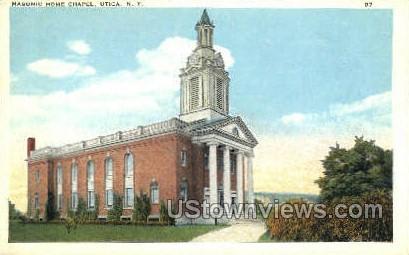 Masonic Home Chapel - Utica, New York NY Postcard