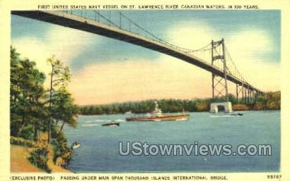 Thousand Island International Bridge - Thousand Islands, New York NY Postcard