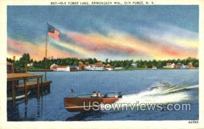 Old Forge Lake, Adirondack Mts - New York NY Postcard