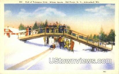 Toboggan Slide, Adirondack Mts - Old Forge, New York NY Postcard