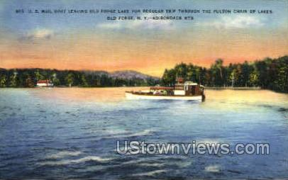 Fulton Chain of Lakes - Old Forge, New York NY Postcard