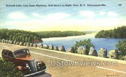 Seventh Lake, Golf Island - Inlet, New York NY Postcard