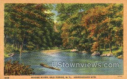 Moose River - Old Forge, New York NY Postcard