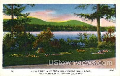 Hollywood Hills Road, Adirondack Mts - Old Forge, New York NY Postcard