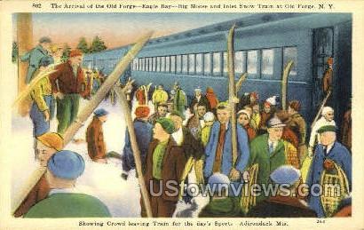 Inlet Snow Train, Adirondack Mts - Old Forge, New York NY Postcard