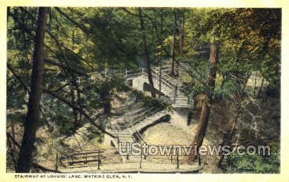 Lover's Lane - Watkins Glen, New York NY Postcard