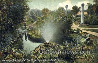 Rustic Fountain, Canfield Park - Saratoga Springs, New York NY Postcard