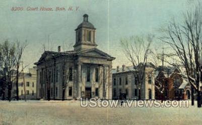 Court House - Bath, New York NY Postcard