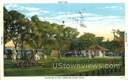 Watkins Glen Lakeside Camp Park - New York NY Postcard