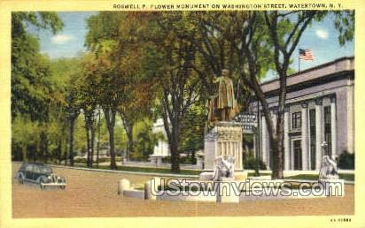 Roswell P. Flower Monument - Watertown, New York NY Postcard