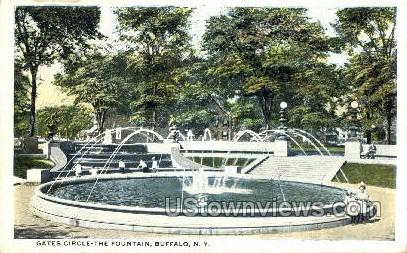 Gates Circle-the-Fountain - Buffalo, New York NY Postcard